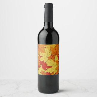 Fall Leaves Pattern Wine/Champagne Bottle Label