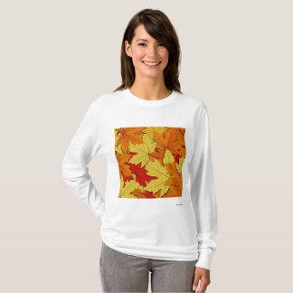 Fall Leaves Pattern Women's Long Sleeve Shirt