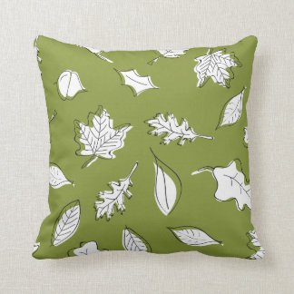 Fall Leaves Pillow - Green Leaf and Acorn
