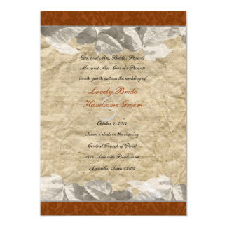 Fall Leaves, Rust Orange Brocade Wedding Personalized Invitations