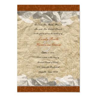 "Fall Leaves, Rust Orange Brocade Wedding 5"" X 7"" Invitation Card"