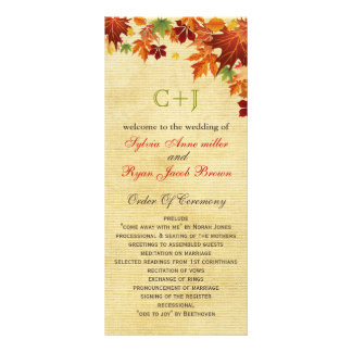 Fall Leaves Rustic Wedding Rack Card