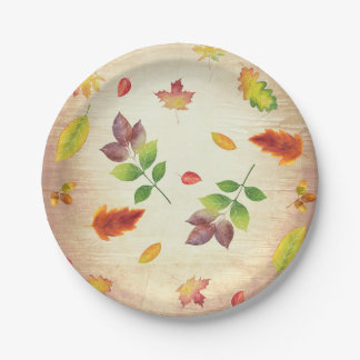 Fall Leaves Rustic Wood Country Barn Wedding Paper Plate