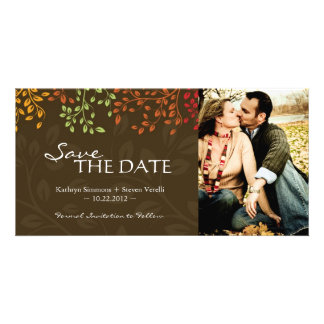 Fall Leaves Save the Date Photocard Card