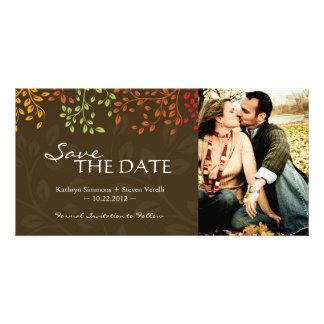 Fall Leaves Save the Date Photocard Custom Photo Card