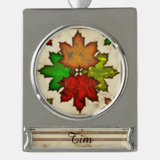 Fall Leaves Silver Plated Banner Ornament