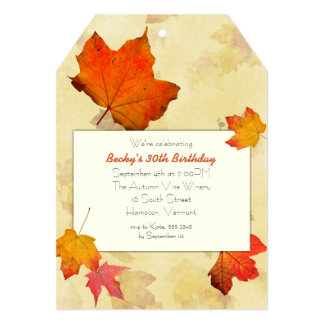 Fall Leaves Tag Birthday Party Invitations