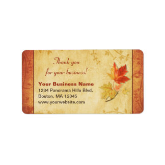 Fall Leaves Thank You Business Return Address Address Label