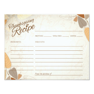 Fall Leaves Thanksgiving Recipe Card