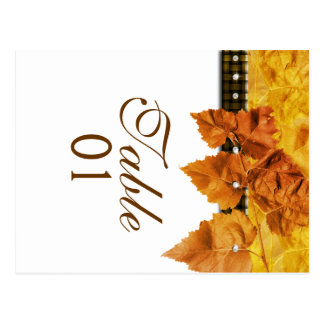 "Fall leaves weave diamond ""table number"" postcard"