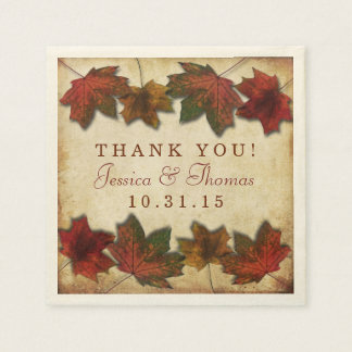 Fall Leaves Wedding Disposable Napkin