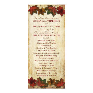 Fall Leaves Wedding Program Rack Card