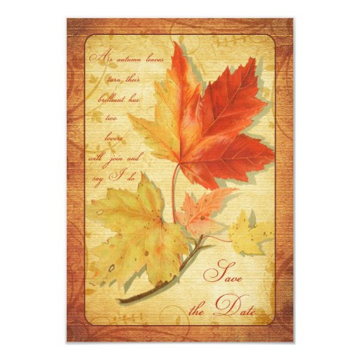 Fall Leaves Wedding Save the Date Announcement
