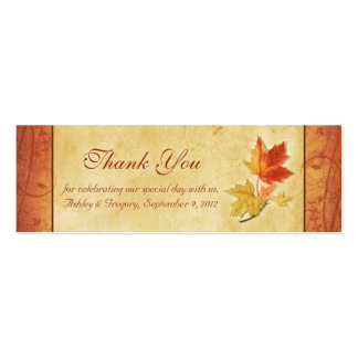 Fall Leaves Wedding Thank You Favor Tags Pack Of Skinny Business Cards