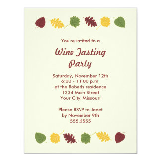 Fall Leaves Wine Tasting Party Invitations