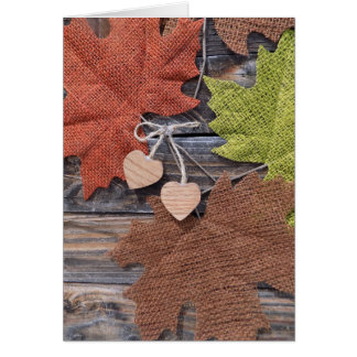 Fall Leaves with Heart Card