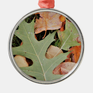 Fall leaves with yellows and green metal ornament