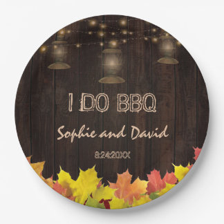 Fall Leaves Wood Old Lanterns I DO BBQ 9 Inch Paper Plate
