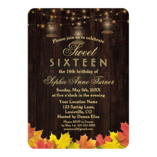 Fall Leaves Wood Old Lanterns SWEET SIXTEEN Card