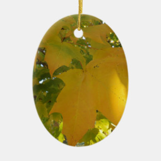 Fall Leaves-Yellow Ceramic Oval Decoration