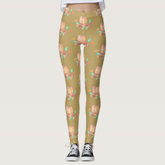 Fall leggings with a pumpkin and leaves pattern