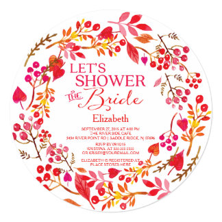 Fall Let's Shower The Bride bridal Shower Card