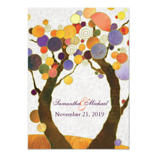 Fall Love Trees Modern Wedding Invitations