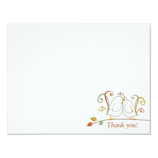 Fall Lovebirds, Thank You Notecards Personalized Invitation
