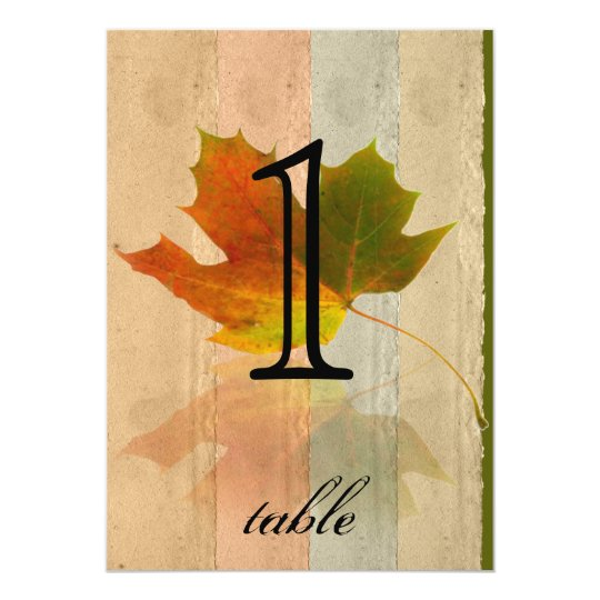 Fall Maple Leaf Anniversary Table Number Card