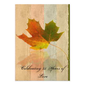 Fall Maple Leaf on Faux Handmade Paper Anniversary 13 Cm X 18 Cm Invitation Card