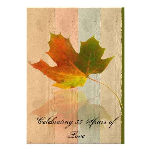 Fall MAple Leaf on Faux Handmade Paper Anniversary Personalized Announcements