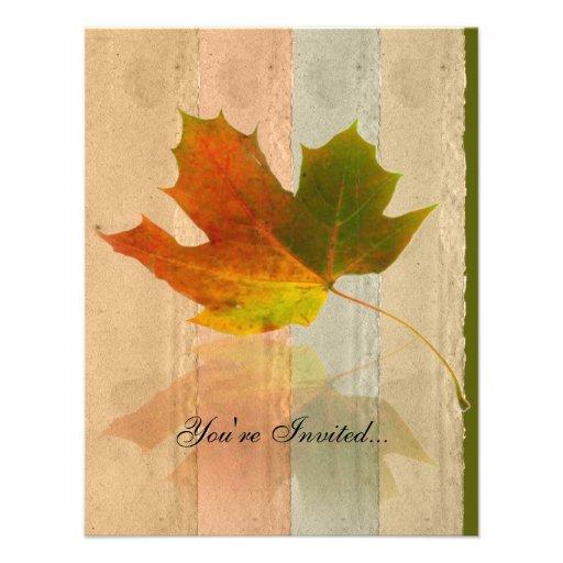 Fall Maple Leaf on Faux Handmade Paper Invitation