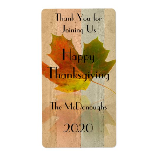 Fall Maple Leaf on Faux Handmade Paper Wine Label Shipping Label