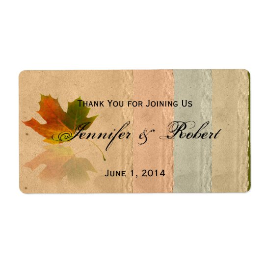 Fall Maple Leaf on Paper Water Bottle Label Shipping Label