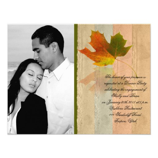 Fall Maple Leaf on Paper Wedding Engagement Personalized Invites