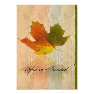 Fall Maple Leaf on Paper Wedding Invitation