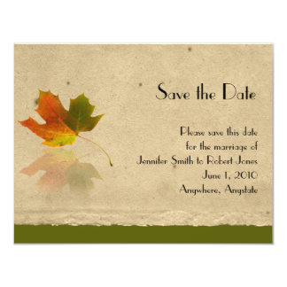 Fall Maple Leaf on Paper Wedding Save the Date Announcements