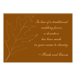 Fall Maple Leaf Wedding Charity Favor Card Pack Of Chubby Business Cards