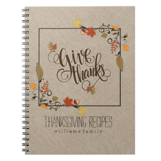 Fall Maple Leafs Frame Give Thanks Text Design Notebooks