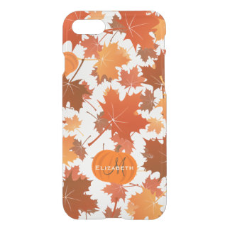 Fall maple leaves and pumpkins name monogram iPhone 8/7 case