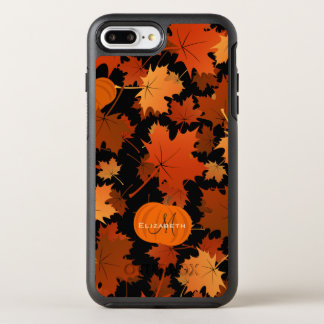 Fall maple leaves and pumpkins name monogram OtterBox symmetry iPhone 8 plus/7 plus case