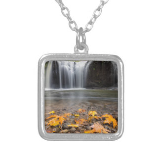 Fall Maple Leaves at Hidden Falls waterfall Silver Plated Necklace