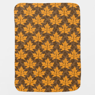 Fall maple leaves in orange & brown autumn colors baby blanket