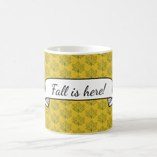 Fall Maple Leaves Pattern Yellow NameText Template Coffee Mug