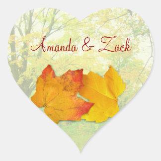 Fall Maple Leaves Wedding Heart Sticker