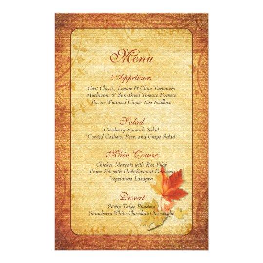 Fall Maple Leaves Wedding Menu Card