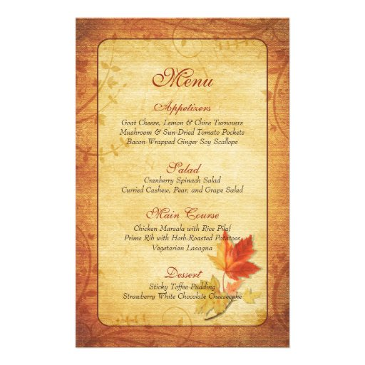 Fall Maple Leaves Wedding Menu Card 14 Cm X 21.5 Cm Flyer