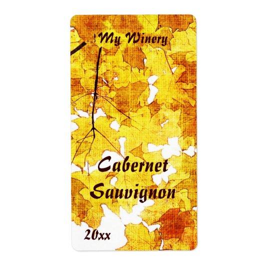 Fall maple leaves wine bottle label