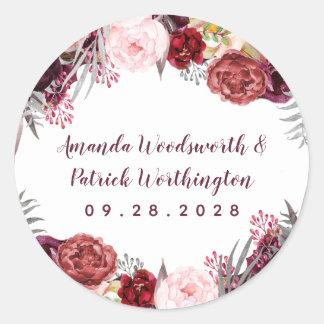 Fall Marsala Blush Pink Peony Autumn Wedding Favor Classic Round Sticker