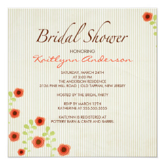 Fall Morning Song Floral Bridal Shower Invitation